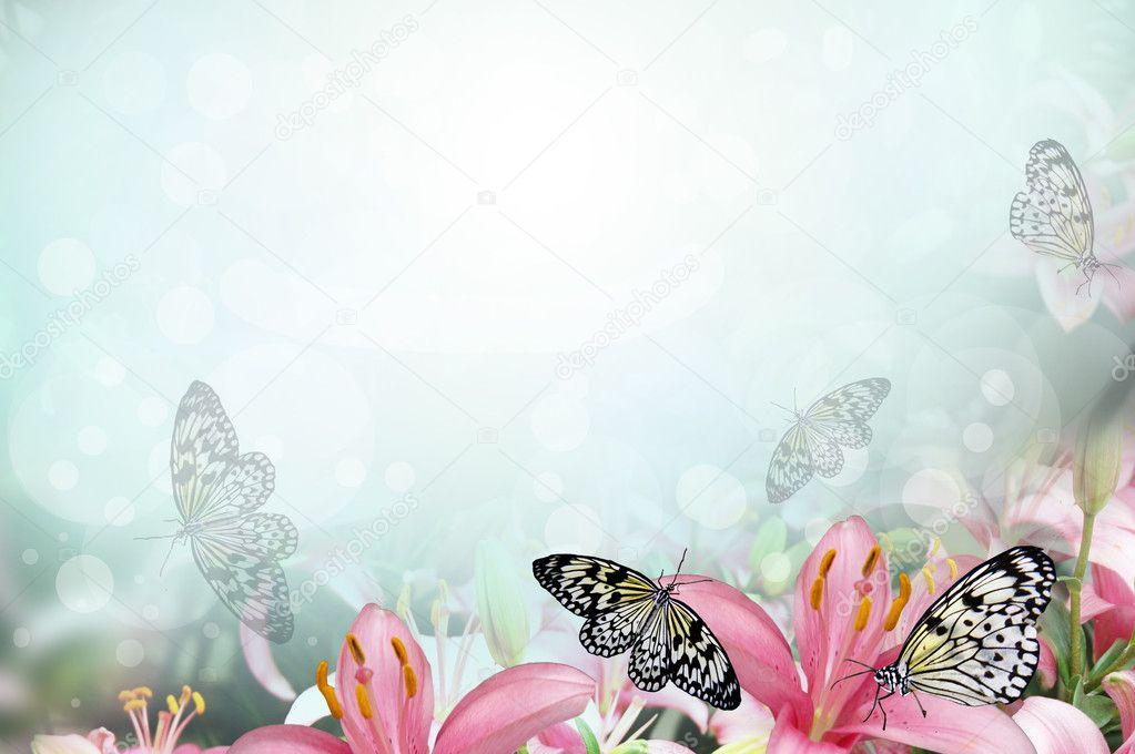 Spring 3d Live Wallpaper Sfondo Primavera Fresca Con Fiori E Farfalle Foto Stock
