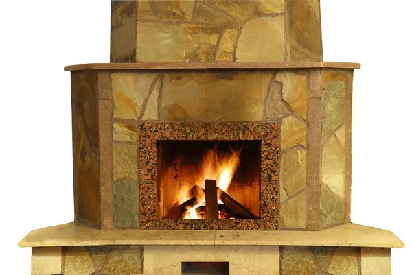 Rustic Fireplace In Log Cabin Stock Photo C Feverpitch