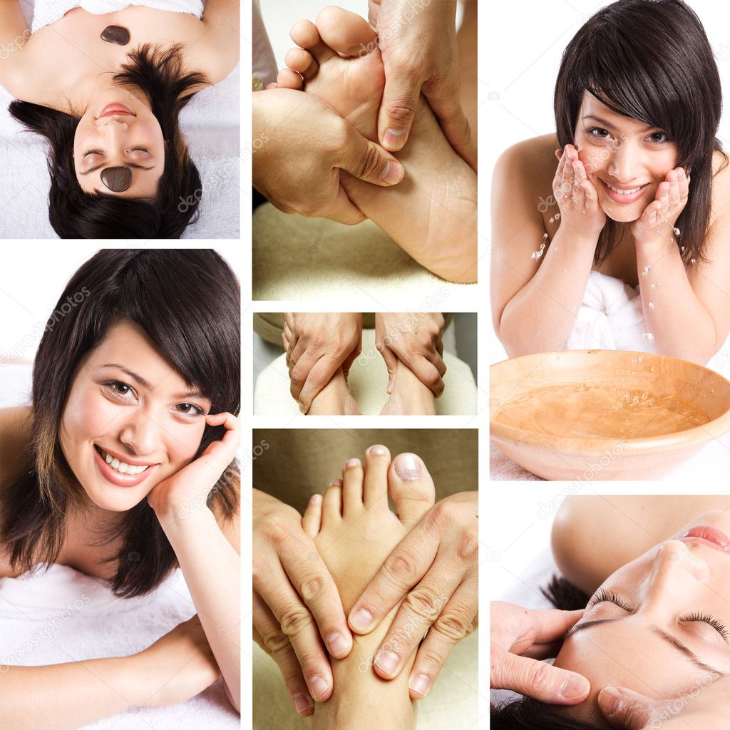 Salon De Massage 94 Beauty Spa And Massage Collage Stock Photo Aremafoto