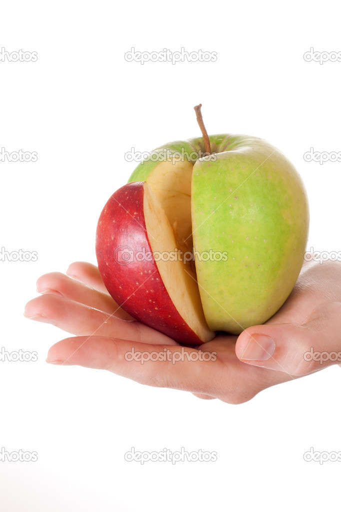 Combination of green apple and red slice \u2014 Stock Photo © alexandco
