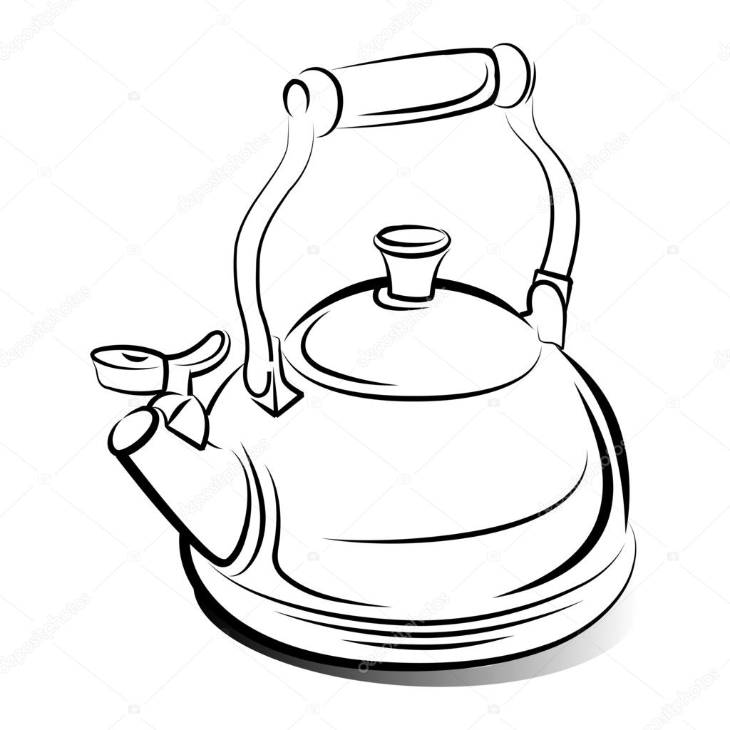 Koffiemok To Go Drawing Of The Teapot Kettle Vector Illustration Stock