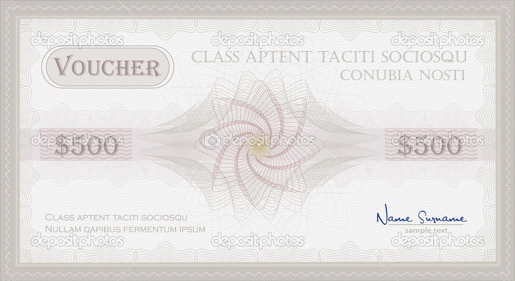 Vector Voucher Guilloche coupon certificate template security - coupon voucher template