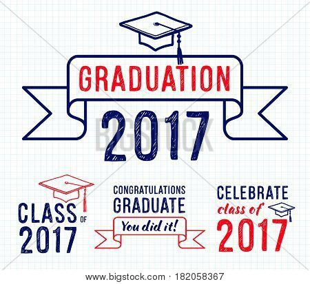 Congratulations graduate 2017 Set of graduation labels Vector