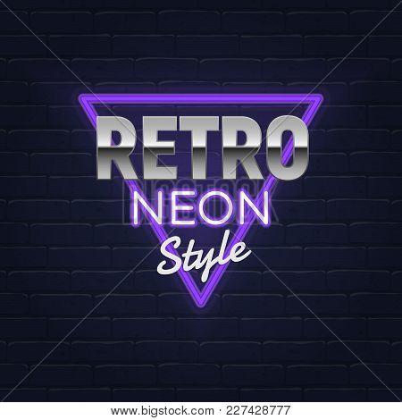 Retro Neon Banner Realistic Neon Sign Light Banner, Frame Bright