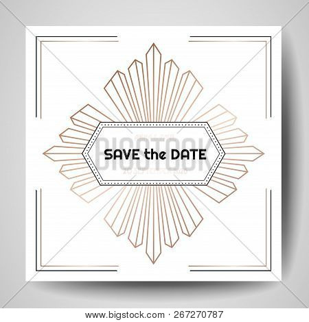 Art Deco Wedding Invitation, Luxury Save The Date Card With Gold