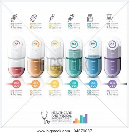 Healthcare And Medical Infographic With Pill Capsule Timeline Step - medical timeline template