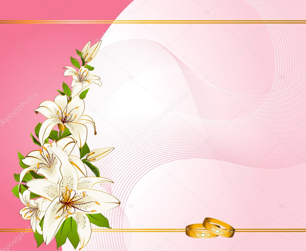 stock illustration vector two wedding rings on flower wedding ring Vector two wedding rings on a background with flowers Stock Vector