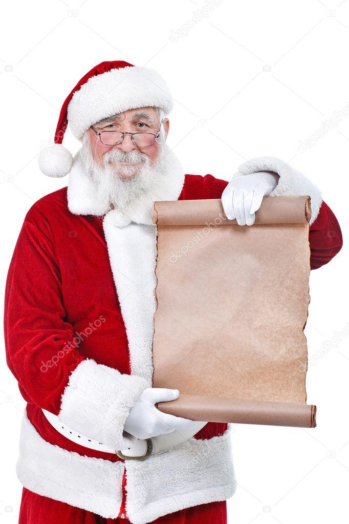 Santa holding blank scroll list \u2014 Stock Photo © luckybusiness #7932566 - santa list blank