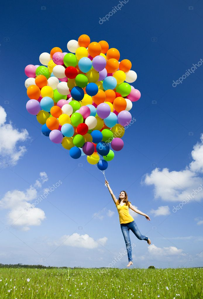 Girl With Balloons Wallpaper Jumping With Balloons Stock Photo 169 Ikostudio 6851687
