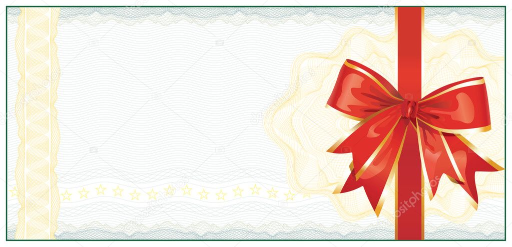 Golden Gift Certificate or Discount Coupon template / with red b