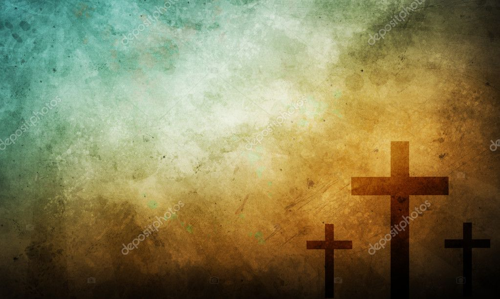 Christian Wallpaper Fall Offering Three Crosses On Vintage Background Stock Photo