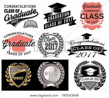 Graduation vector set Class of 2017 Congrats grad Congratulations