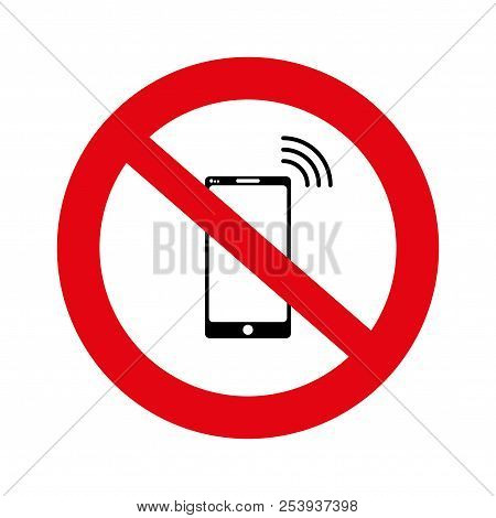 No Cell, No Mobile Phone Sign Banner, No Phone Sign On White