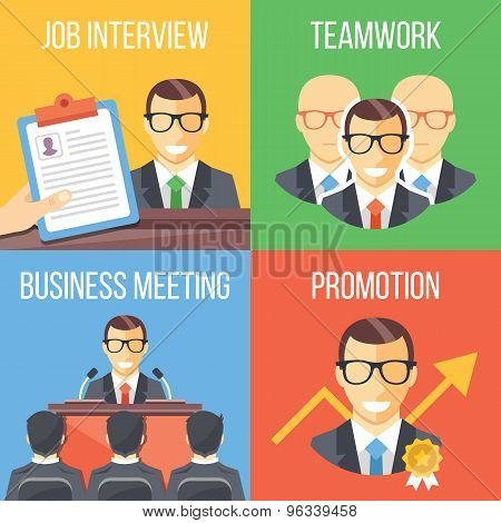 Job interview, teamwork, business meeting, promotion concepts Poster