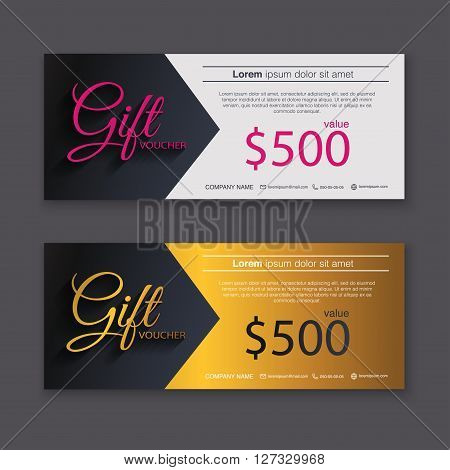 Gift Voucher Template With Gold Pattern, Gift Certificate