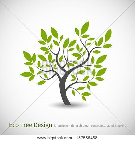 Tree logo concept of a stylized vector tree with leaves and branches