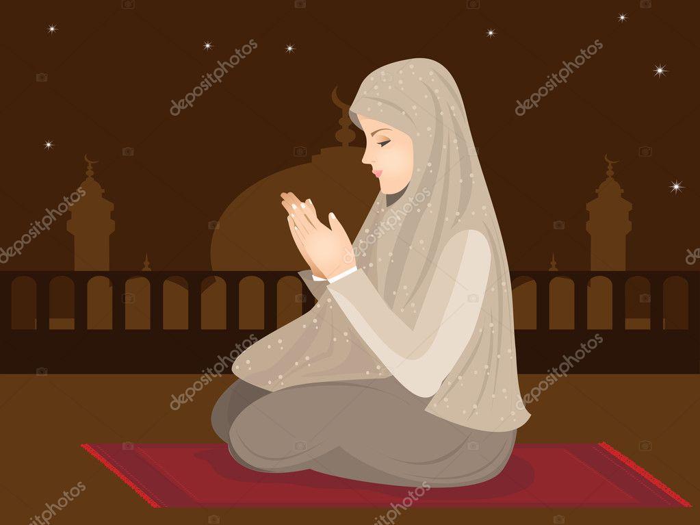 Muslim Girl Namaz Wallpaper Vector Illustration Of Young Muslim Girl Praying Stock