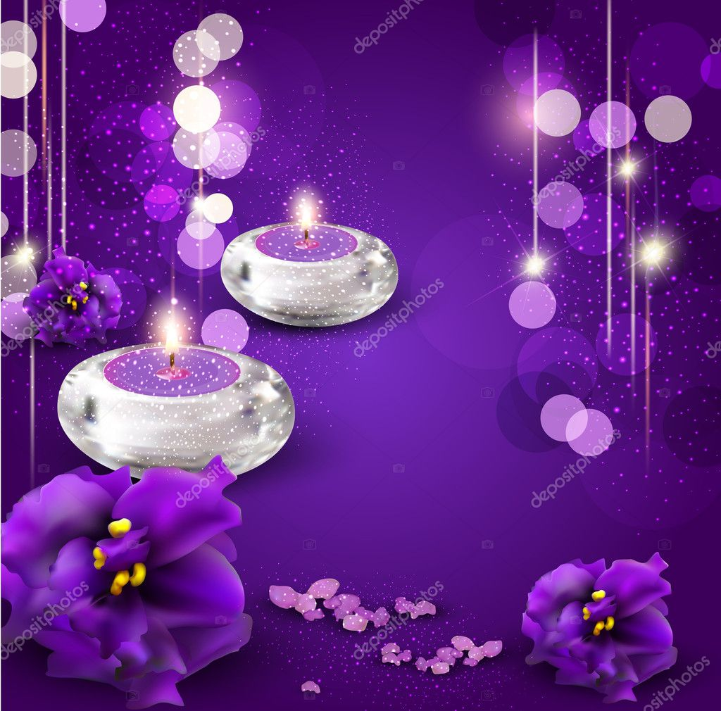 3d Candle Live Wallpaper Vector Background With Romantic Candles And Violets On