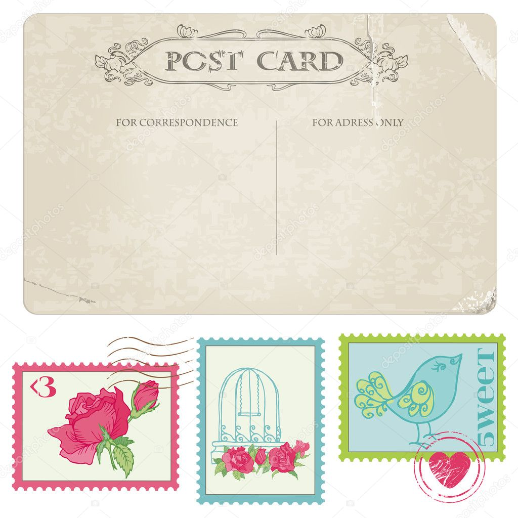 stock illustration vintage postcard and postage stamps wedding postage stamps Vintage Postcard and Postage Stamps for wedding design invitation congratulation scrapbook Vector by woodhouse