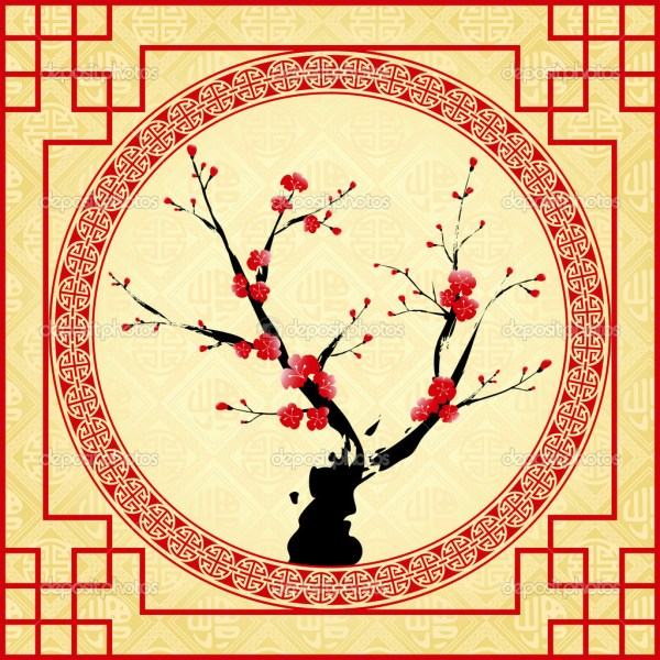 Oriental style painting Plum blossom Cherry blossom. 1024 x 1024.Cards For Chinese New Year