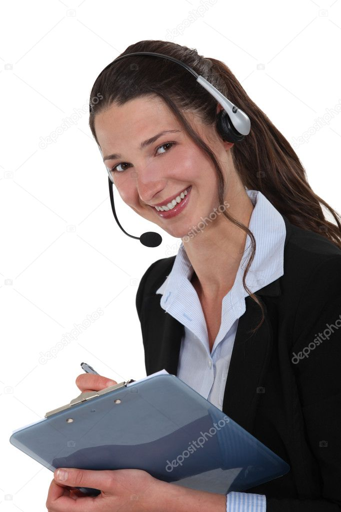 Cheerful call-center supervisor with clip-board \u2014 Stock Photo - call center supervisor