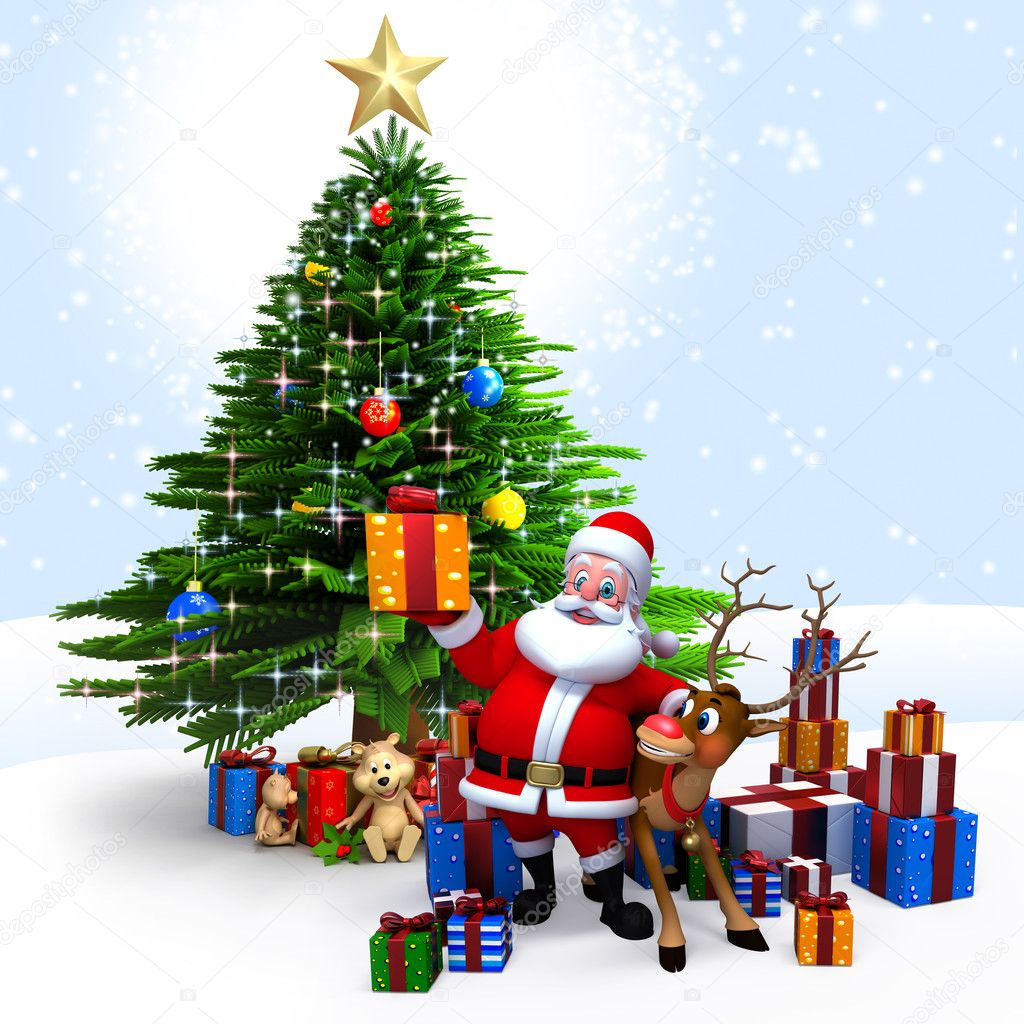 3d Xmas Tree Live Wallpaper Santa With His Reindeer And Gifts Stock Photo