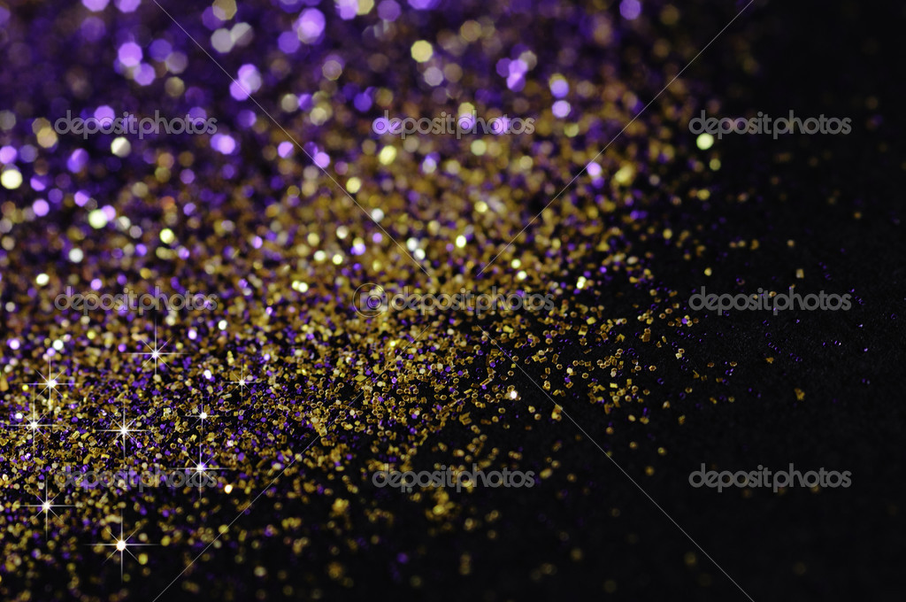 Falling Snow Live Wallpaper For Pc Gold And Purple Glitter On Black Background Stock Photo