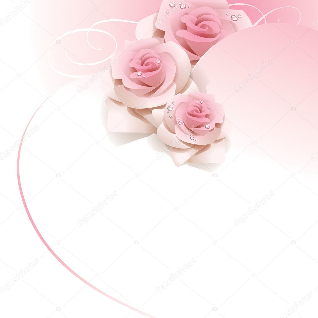 Balloons 3d Live Wallpaper Wedding Background With Pink Roses Stock Vector