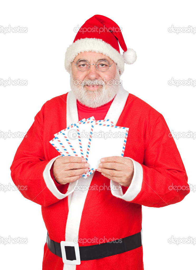 Santa Claus with envelopes for sending letters \u2014 Stock Photo © Gelpi