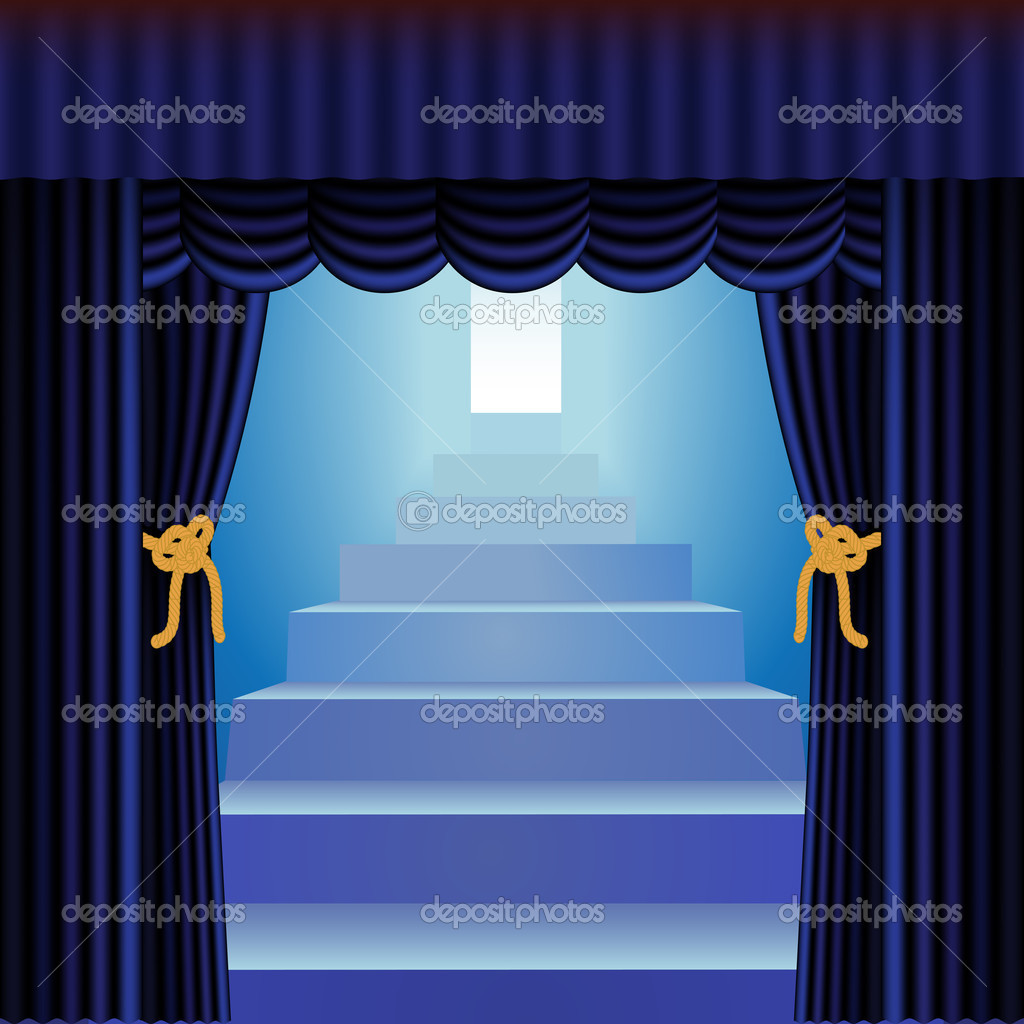 Fall Powerpoint Wallpaper Blue Curtains With Staircase Stock Vector 169 Debrus 9420370