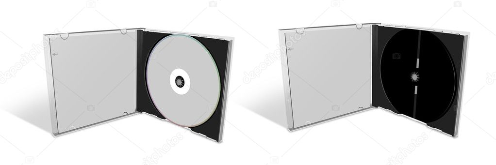 Blank CD in a CD Case and empty case \u2014 Stock Photo © creativei #9920640