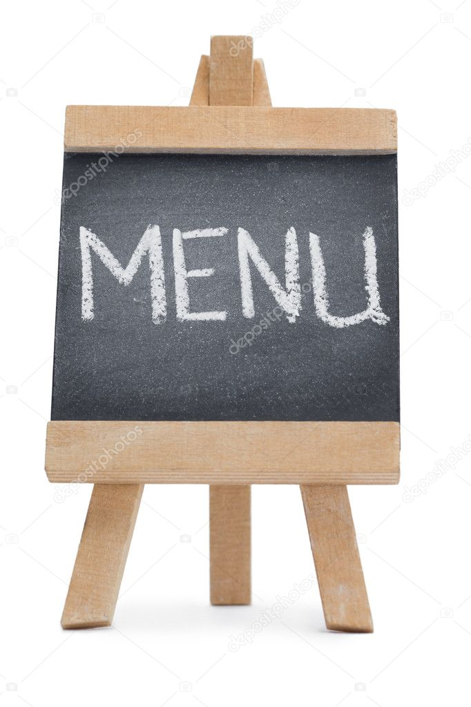 Chalkboard with the word menu written on it \u2014 Stock Photo