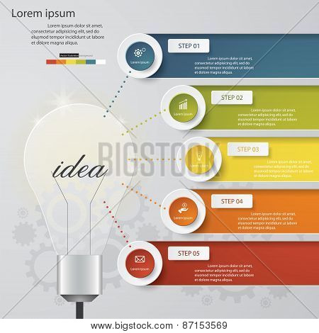 Design Business Chart 5 Steps Diagram in Light Bulb Shape Poster ID