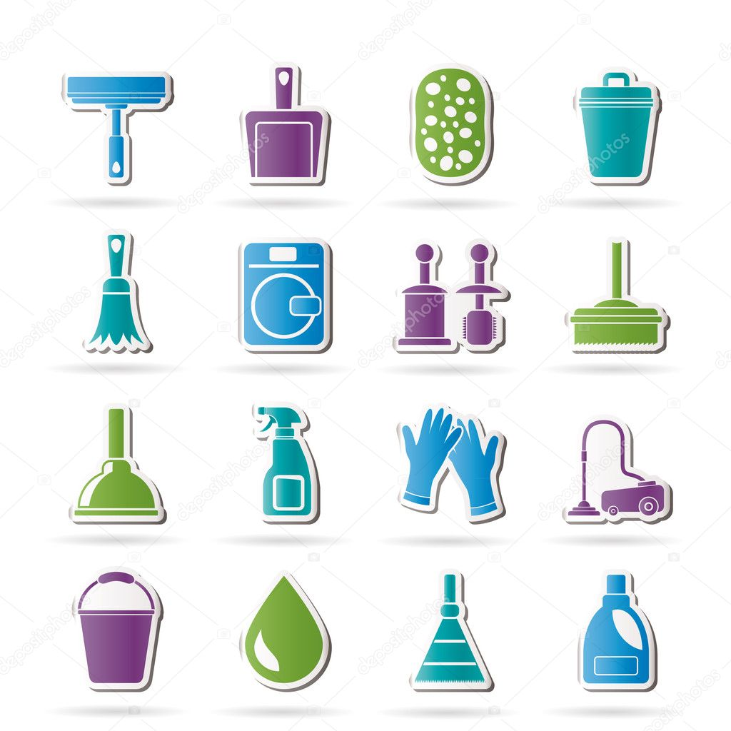 Servicio De Internet Hogar Cleaning And Hygiene Icons Stock Vector Stoyanh 11564084