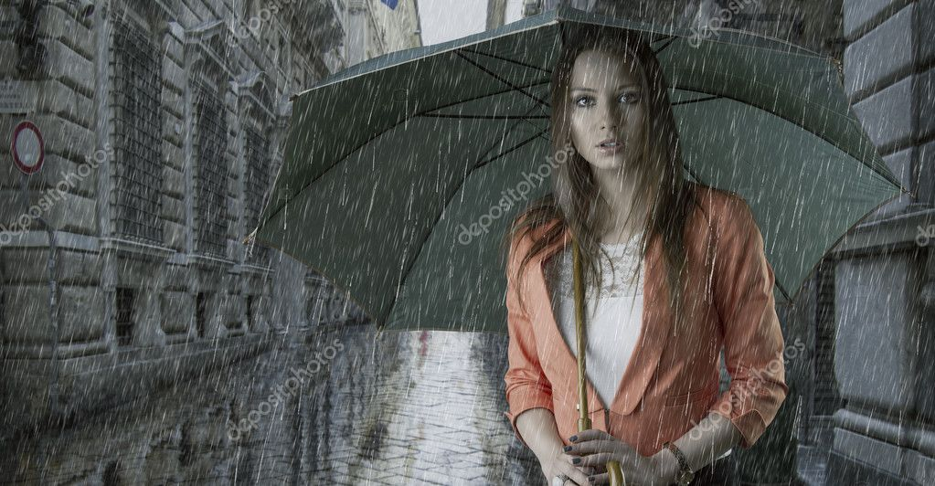 Girl Under Rain Live Wallpaper Beautiful Woman With Umbrella Under The Rain Stock Photo