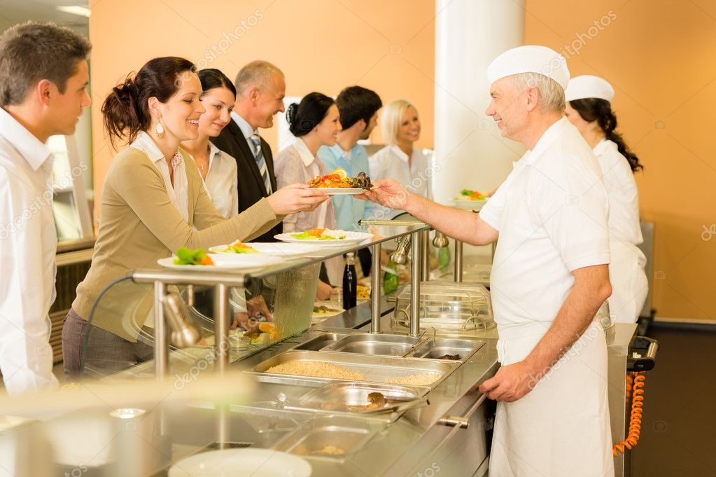 Office woman in canteen cook serve meals \u2014 Stock Photo