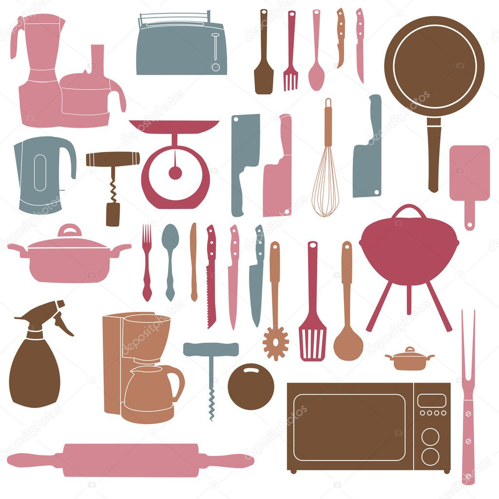 Pinke Küchenutensilien Vector Illustration Of Kitchen Tools For Cooking Stock