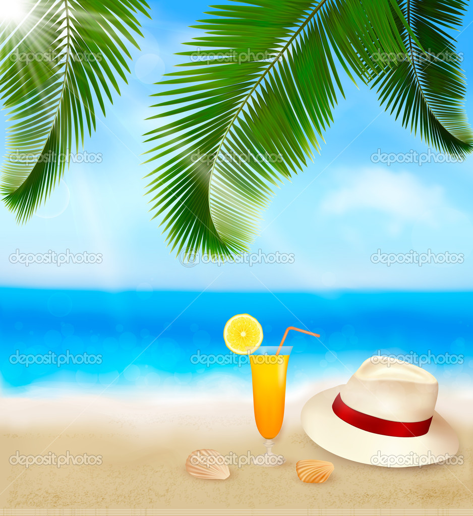 Tropical Ocean 3d Live Wallpaper Seaside View With Palm Leaves Coctail And Traveller S Hat
