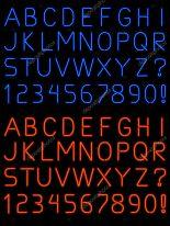 Neon Light Font Letters