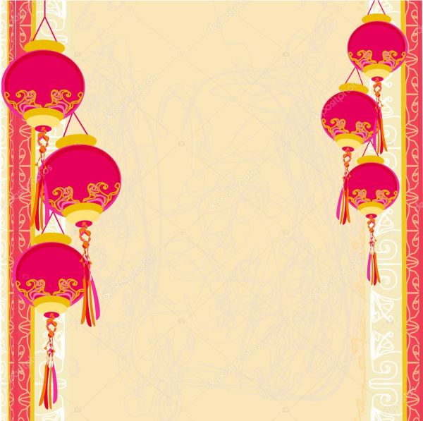 Chinese New Year with lanterns card  vector illustration  Stock . 1024 x 1019.Cards For Chinese New Year
