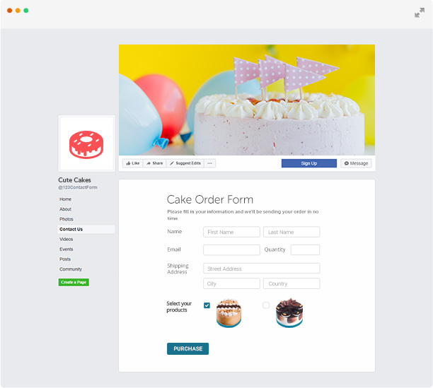 Facebook Contact Form App - Online forms by 123FormBuilder