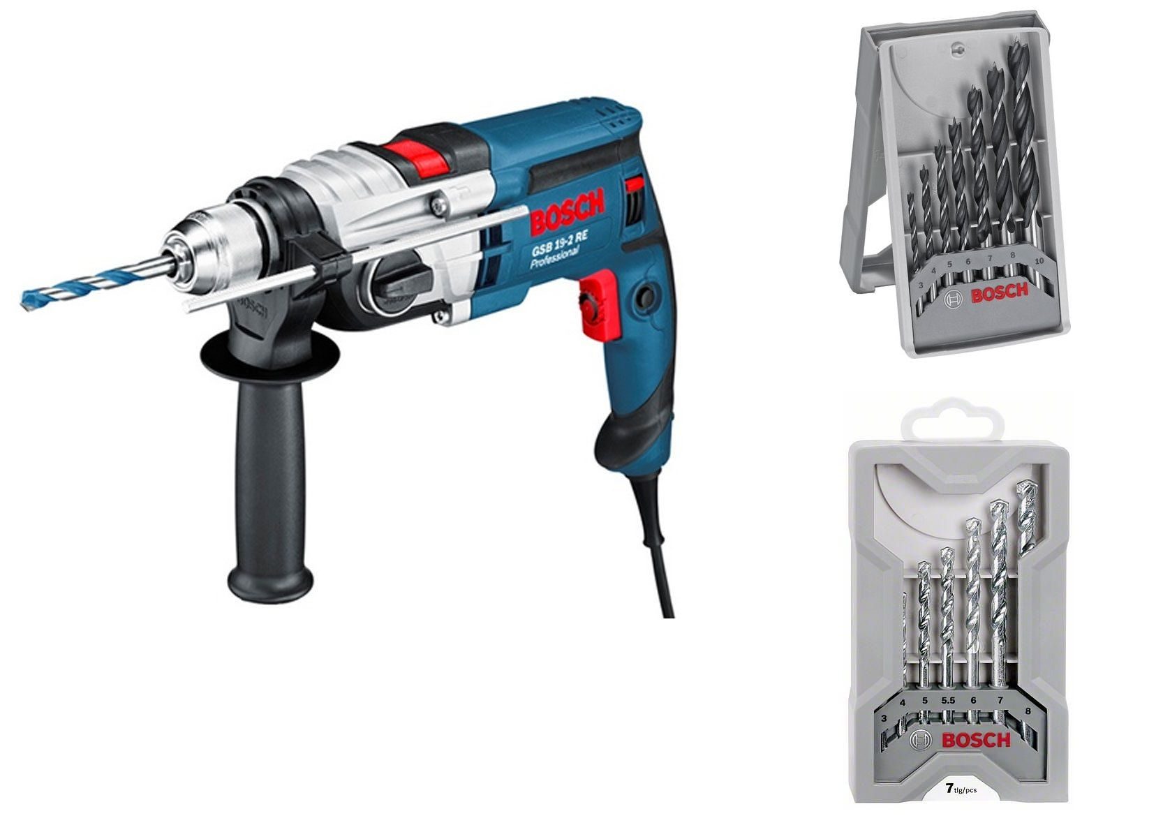 Bosch Borenset Bosch Gsb 19 2 Re Klopboormachine Incl 7 Delig Borenset 2x In Koffer 850w 060117b501