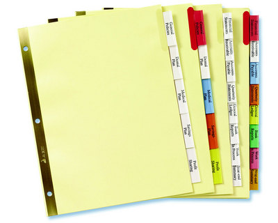 Columbia University Bookstore - Big 8 Tab Insertable Index Dividers - folder dividers tabs