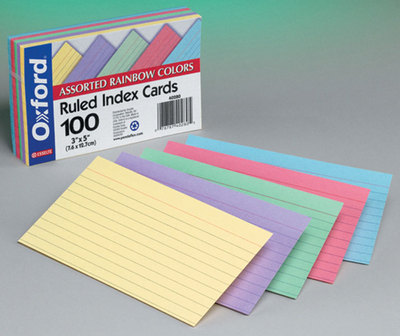 UNH Bookstore - Index Cards 3x5 100 Count Assortment Clear Ruled