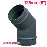 """125mm 5"""" Matt Black Chimney Stove Flue Pipe For Wood ..."""