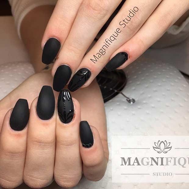 Simple Matte Black Nail Art Design - 25 Cool Matte Nail Designs To Copy In 2017 - Crazyforus