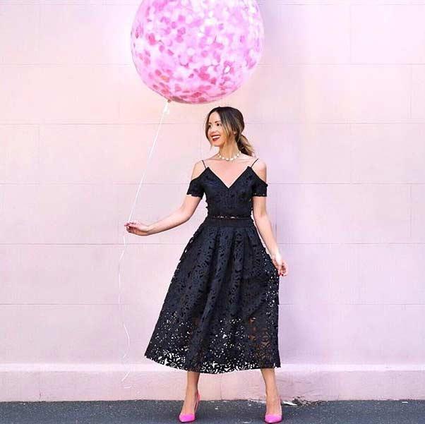 Cute Black Lace Prom Dress