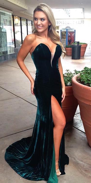 Long Velvet Prom Dress with Slit