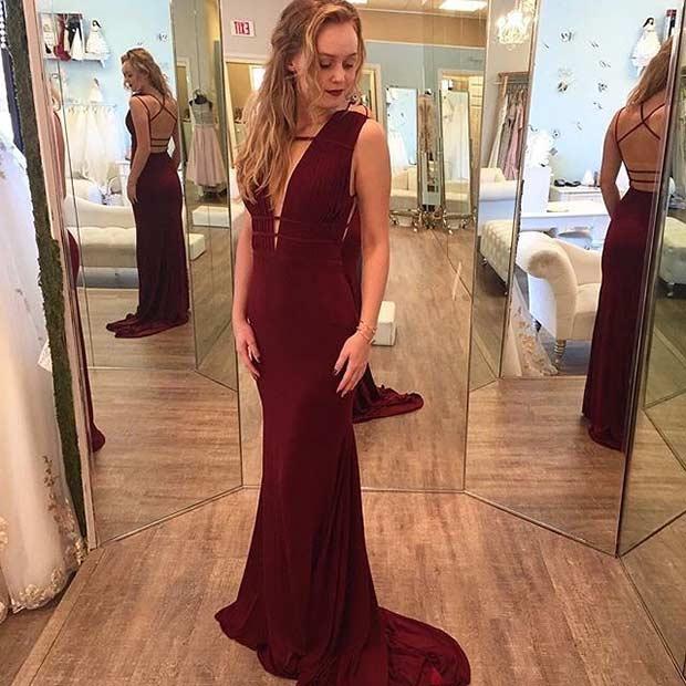 Elegant Long Burgundy Prom Dress
