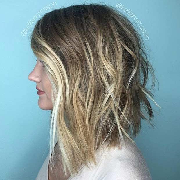 Angled and Textured Lob Haircut
